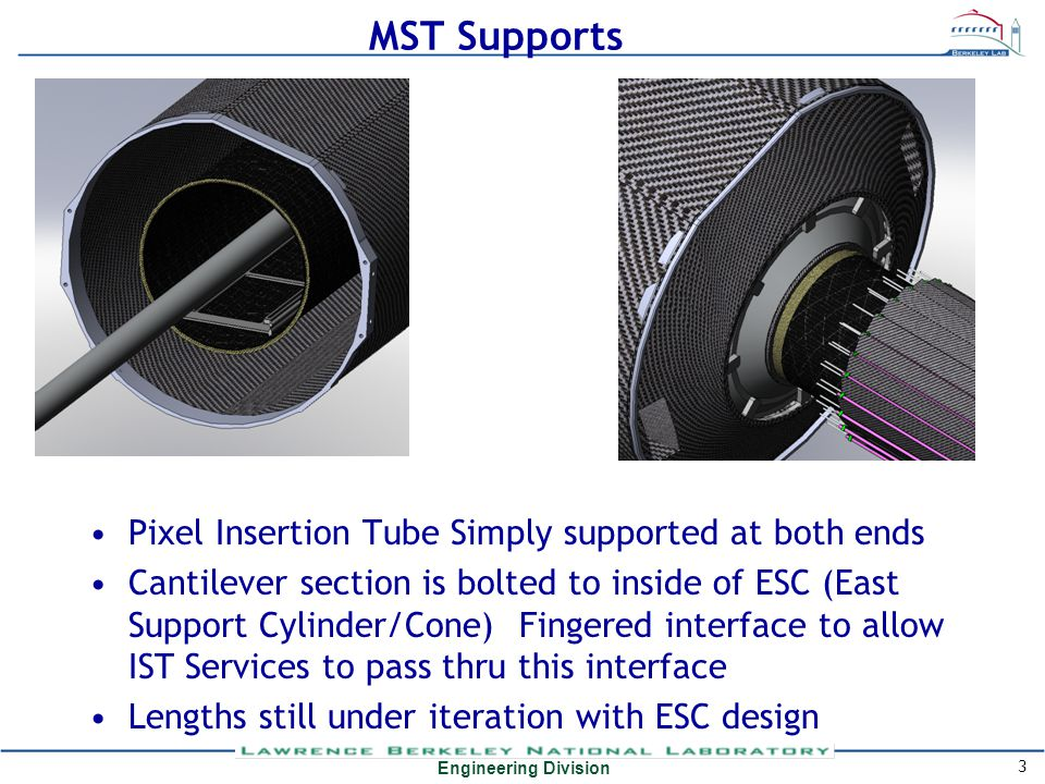 Engineering Division MST Supports Pixel Insertion Tube Simply supported at both ends Cantilever section is bolted to inside of ESC (East Support Cylin