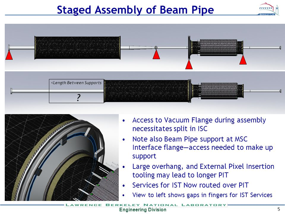 Engineering Division Staged Assembly of Beam Pipe Access to Vacuum Flange during assembly necessitates split in ISC Note also Beam Pipe support at MSC