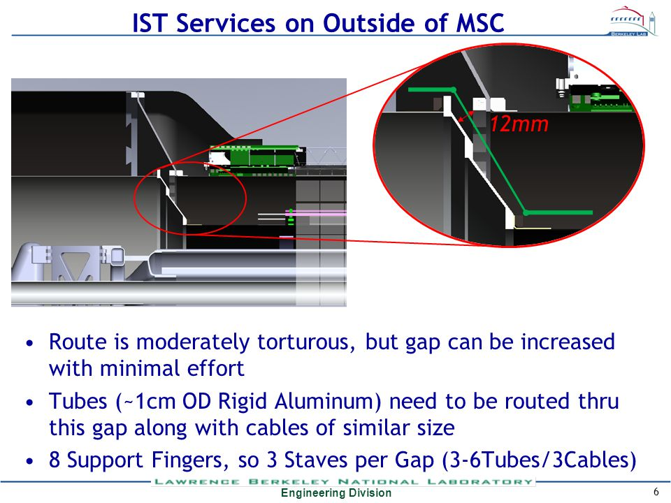 Engineering Division IST Services on Outside of MSC Route is moderately torturous, but gap can be increased with minimal effort Tubes (~1cm OD Rigid Aluminum) need to be routed thru this gap along with cables of similar size 8 Support Fingers, so 3 Staves per Gap (3-6Tubes/3Cables) 6 12mm