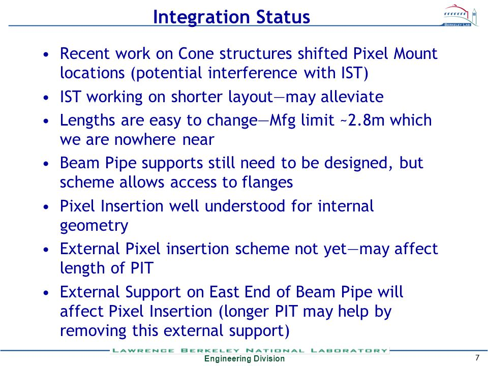 Engineering Division Integration Status Recent work on Cone structures shifted Pixel Mount locations (potential interference with IST) IST working on