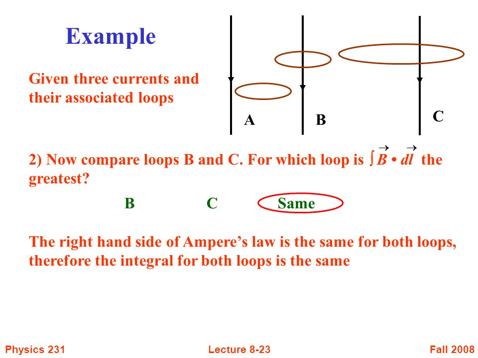 Fall 2008Physics 231Lecture 8-23 B C Same 2) Now compare loops B and C. For which loop is  B dl the greatest?  AB Example C Given three currents an