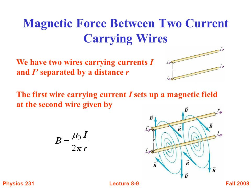 Fall 2008Physics 231Lecture 8-30 Inside the wire: (r < a) Outside the wire: ( r > a ) r B a Long Cylindrical Conductor