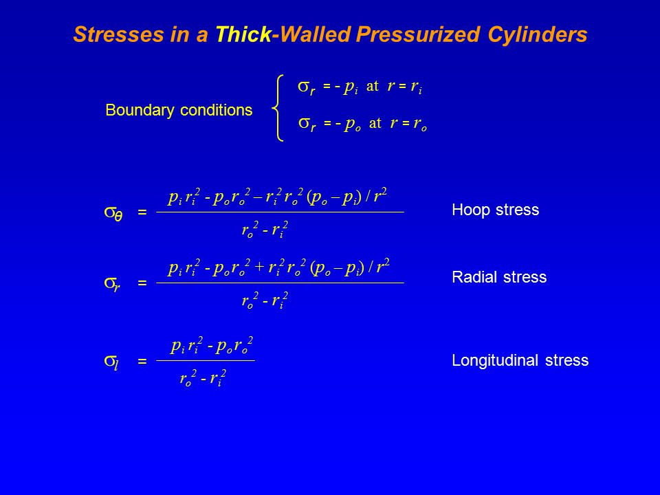 Stresses in a Thick-Walled Pressurized Cylinders Boundary conditions rr = - p i at r = r i rr = - p o at r = r o θθ = p i r i 2 - p o r o 2 – r i 2 r o 2 ( p o – p i ) / r 2 r o 2 - r i 2 Hoop stress rr = p i r i 2 - p o r o 2 + r i 2 r o 2 ( p o – p i ) / r 2 r o 2 - r i 2 Radial stress p i r i 2 - p o r o 2 ll = r o 2 - r i 2 Longitudinal stress