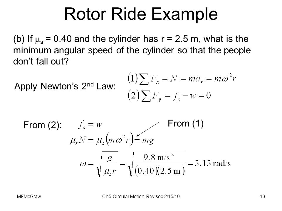 MFMcGrawCh5-Circular Motion-Revised 2/15/1013 (b) If  s = 0.40 and the cylinder has r = 2.5 m, what is the minimum angular speed of the cylinder so t