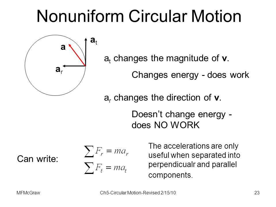 MFMcGrawCh5-Circular Motion-Revised 2/15/1023 atat arar a a t changes the magnitude of v. Changes energy - does work a r changes the direction of v. D
