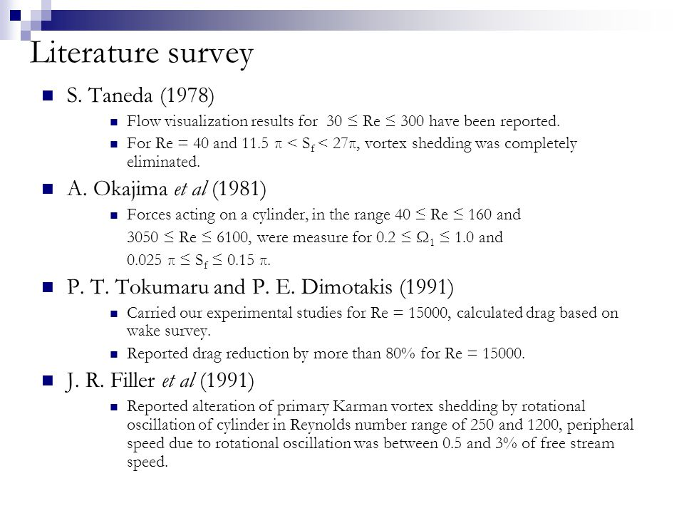 Literature survey S. Taneda (1978) Flow visualization results for 30 ≤ Re ≤ 300 have been reported.