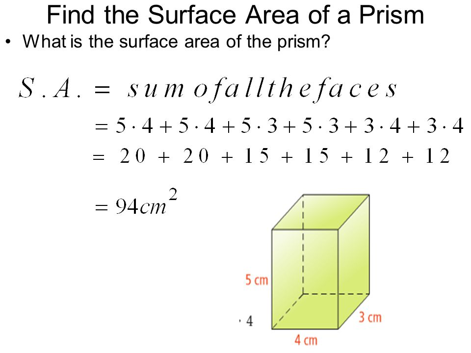 Find the Surface Area of a Prism What is the surface area of the prism?