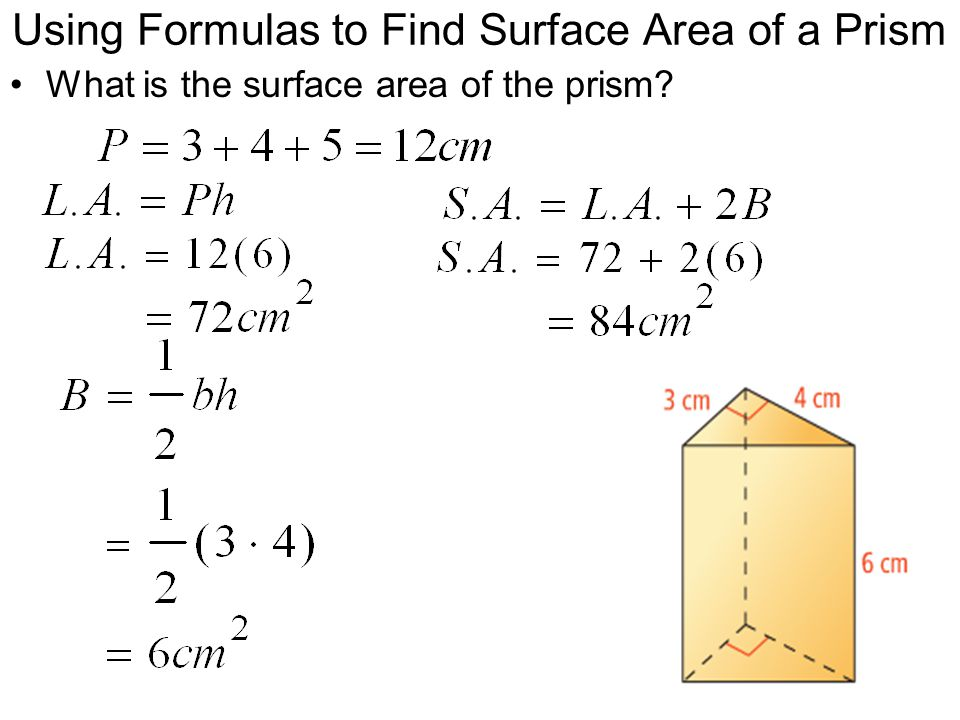 Using Formulas to Find Surface Area of a Prism What is the surface area of the prism?