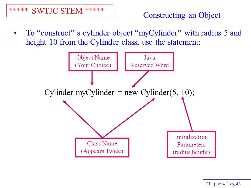 """***** SWTJC STEM ***** Chapter 4-1 cg 43 Constructing an Object To """"construct"""" a cylinder object """"myCylinder"""" with radius 5 and height 10 from the Cyl"""