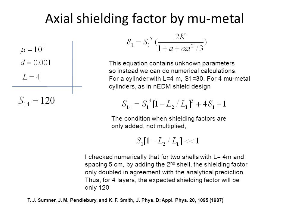 Axial shielding factor by mu-metal I checked numerically that for two shells with L= 4m and spacing 5 cm, by adding the 2 nd shell, the shielding factor only doubled in agreement with the analytical prediction.