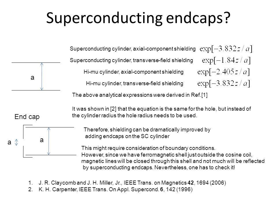 Superconducting endcaps? Superconducting cylinder, axial-component shielding Superconducting cylinder, transverse-field shielding Hi-mu cylinder, axia