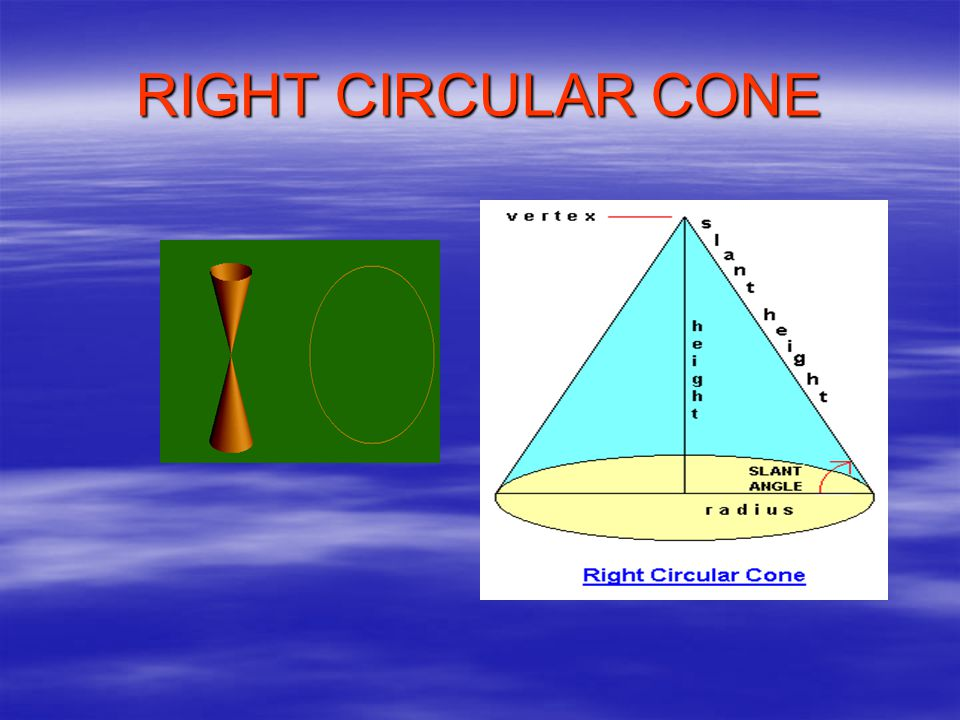 When we rotate a right angle triangle through its perpendicular or base, a right circular cone appears A B C