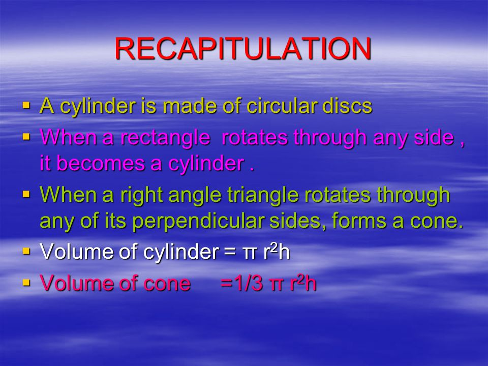  Hence a right circular cylinder is made of three equal right circular cones.
