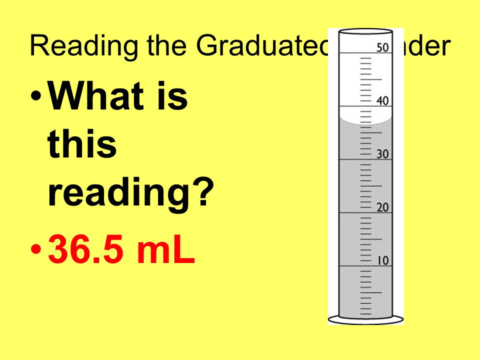 Reading the Graduated Cylinder What is this reading 36.5 mL