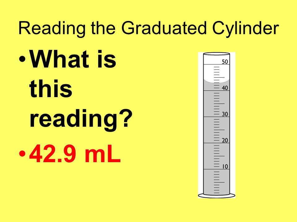 Reading the Graduated Cylinder What is this reading 42.9 mL