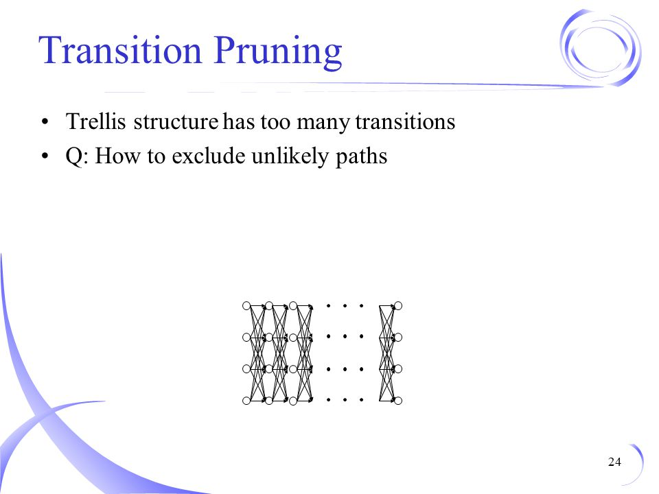 Transition Pruning Trellis structure has too many transitions Q: How to exclude unlikely paths 24