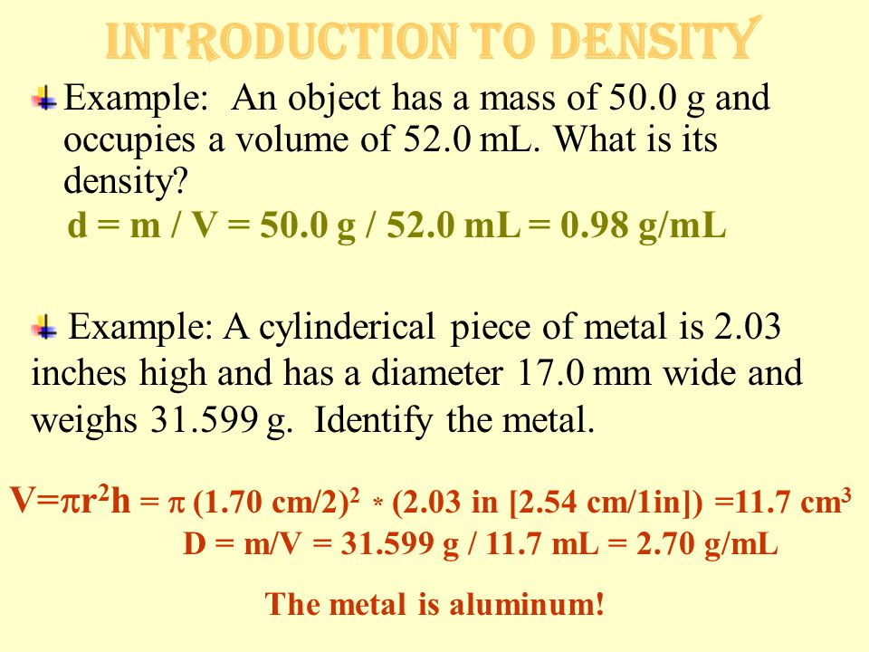 Practice Problems #3 on density Show all of your work on the back.