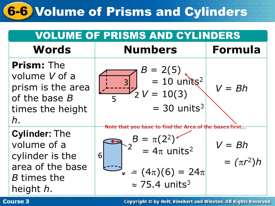 Course Volume of Prisms and Cylinders VOLUME OF PRISMS AND CYLINDERS WordsNumbersFormula Prism: The volume V of a prism is the area of the base B times the height h.