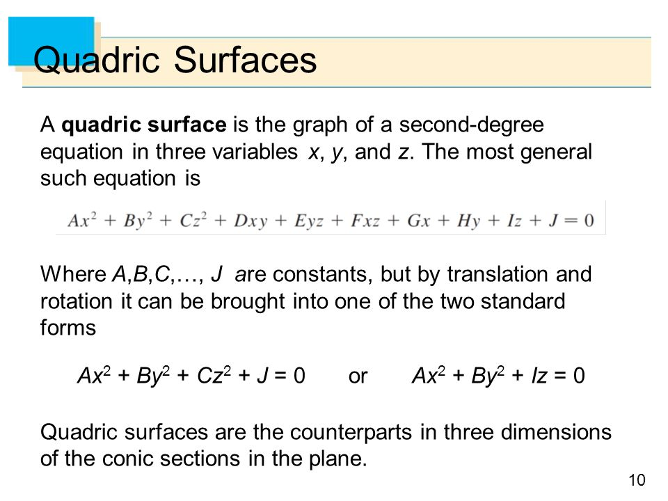 10 Quadric Surfaces A quadric surface is the graph of a second-degree equation in three variables x, y, and z.