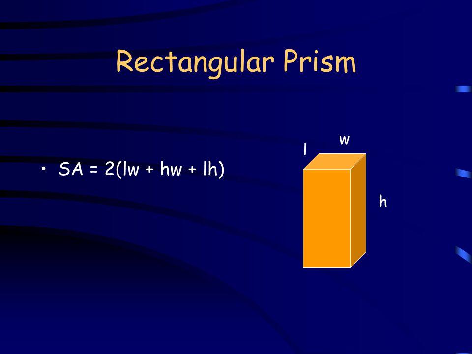 Rectangular Prism V = lwh w h l