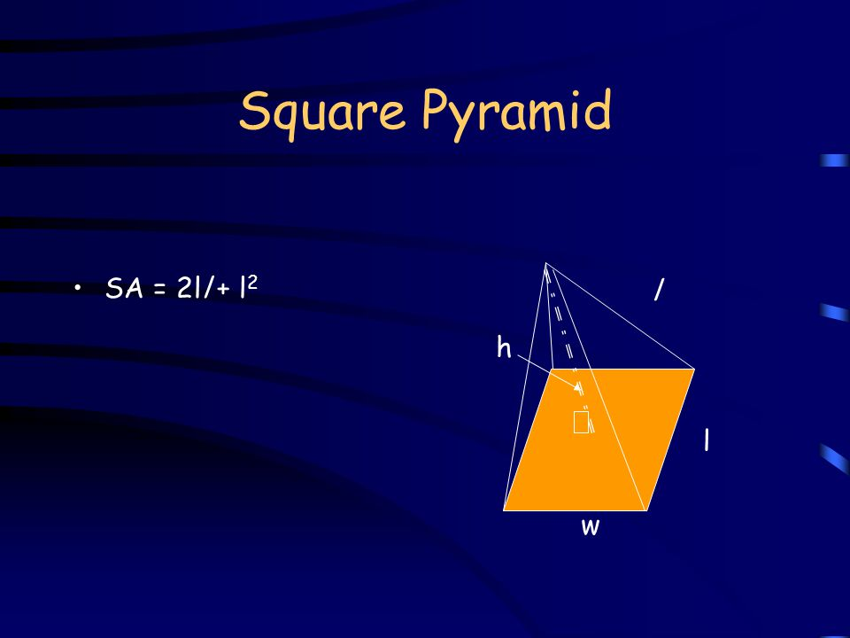 Square Pyramid V = (1/3)lwh l l h w