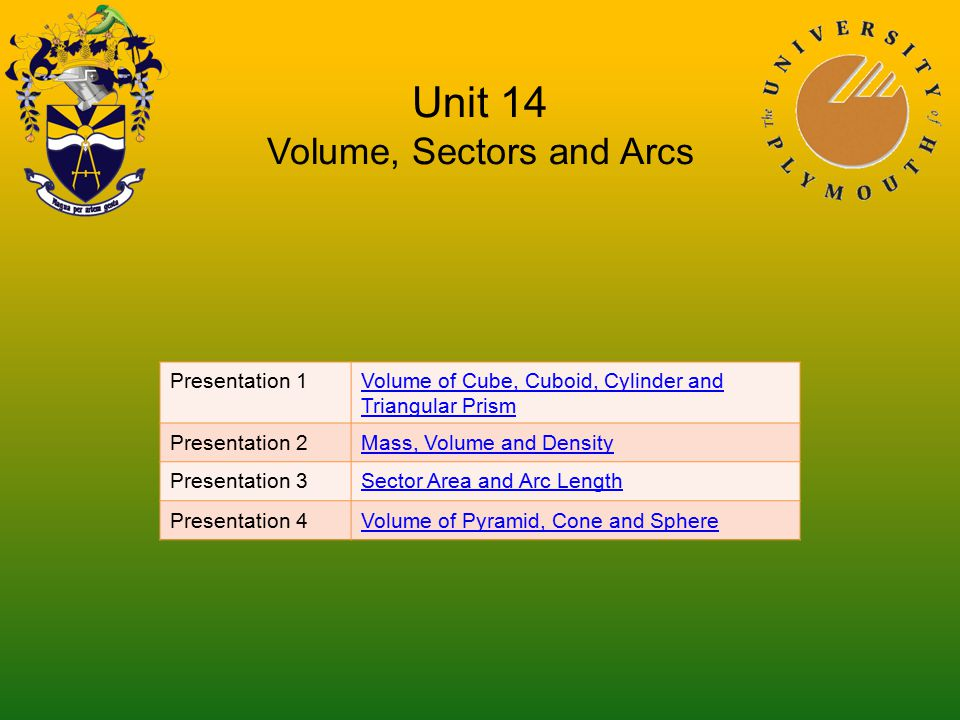 Unit 14 Volume, Sectors and Arcs Presentation 1Volume of Cube, Cuboid, Cylinder and Triangular Prism Presentation 2Mass, Volume and Density Presentation 3Sector Area and Arc Length Presentation 4Volume of Pyramid, Cone and Sphere