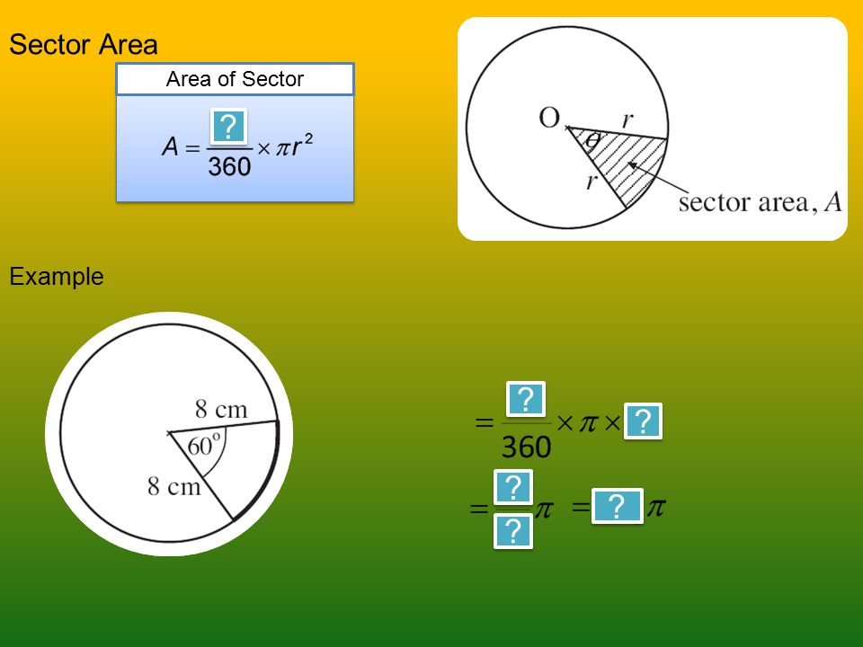 Sector Area Example Sector Area, A Area of Sector