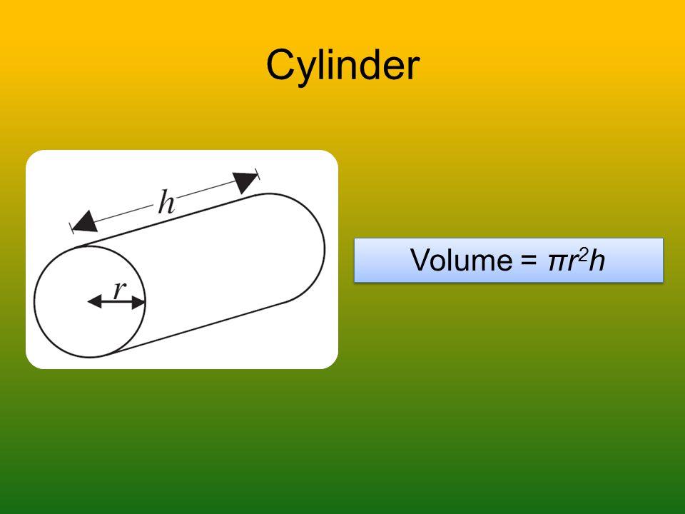 Cylinder Volume = πr 2 h