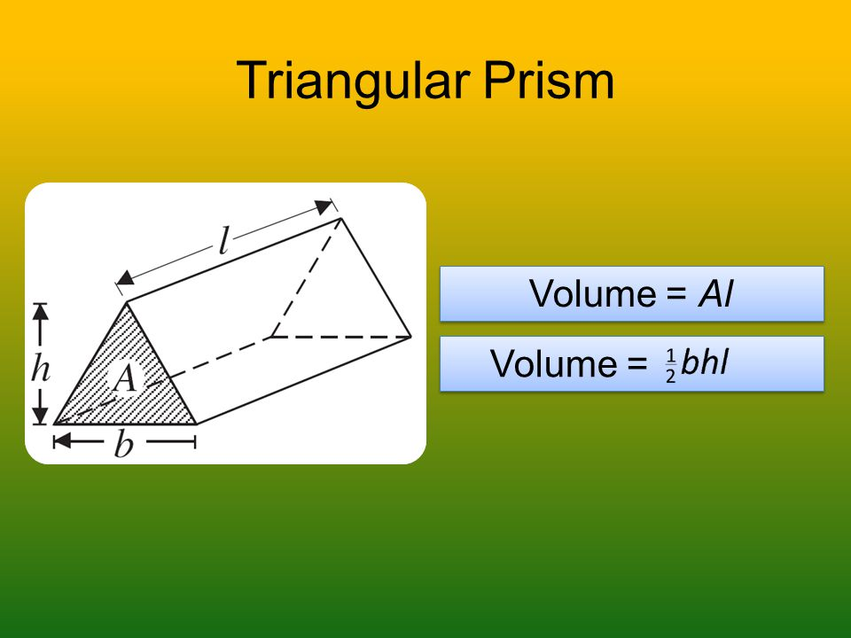 Triangular Prism Volume = Al Volume =