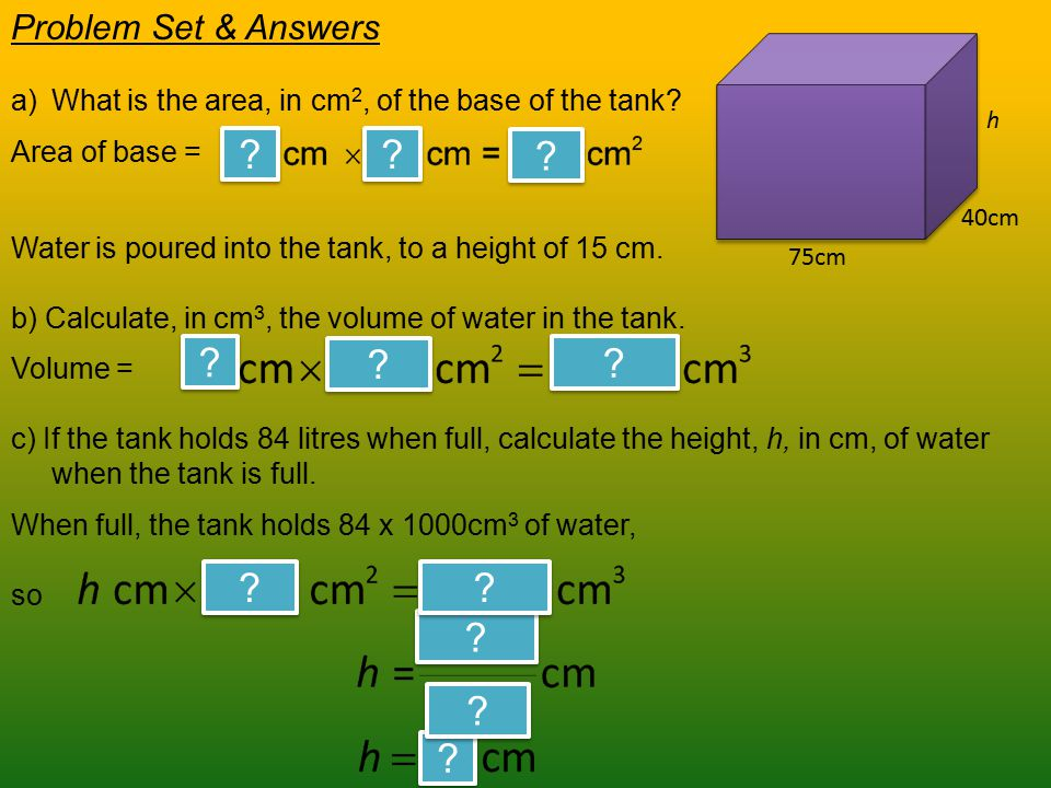 Water is poured into the tank, to a height of 15 cm.