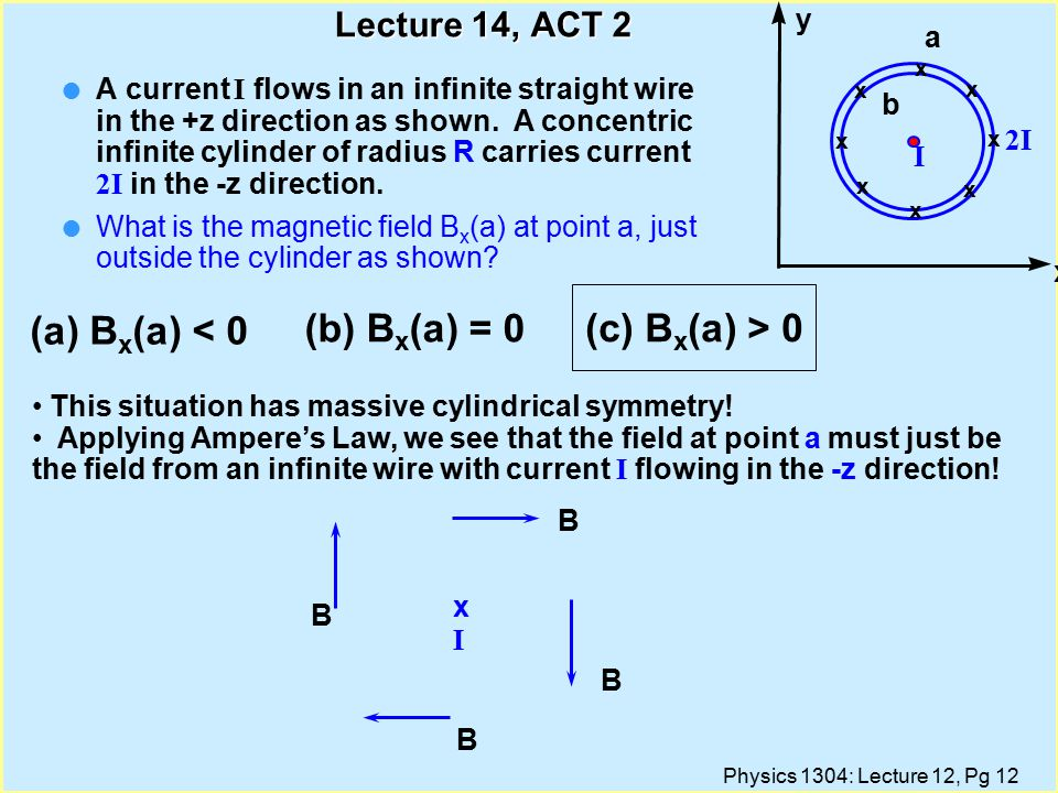 Physics 1304: Lecture 12, Pg 12 Lecture 14, ACT 2 A current I flows in an infinite straight wire in the +z direction as shown.