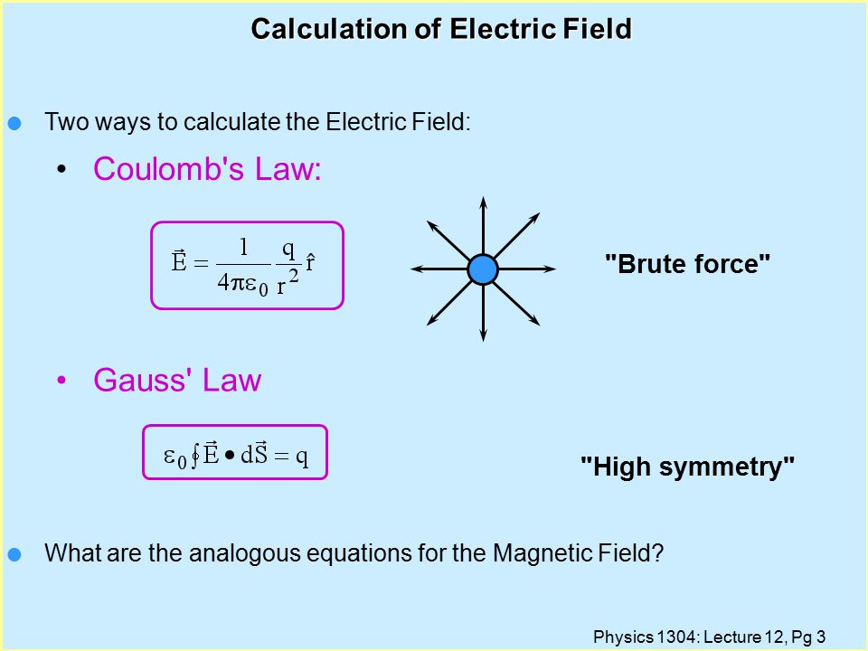 Physics 1304: Lecture 12, Pg 3 Calculation of Electric Field Brute force High symmetry l Two ways to calculate the Electric Field: Coulomb s Law: Gauss Law l What are the analogous equations for the Magnetic Field