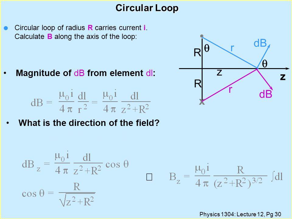 Physics 1304: Lecture 12, Pg 30 Circular Loop x z R R Circular loop of radius R carries current i.