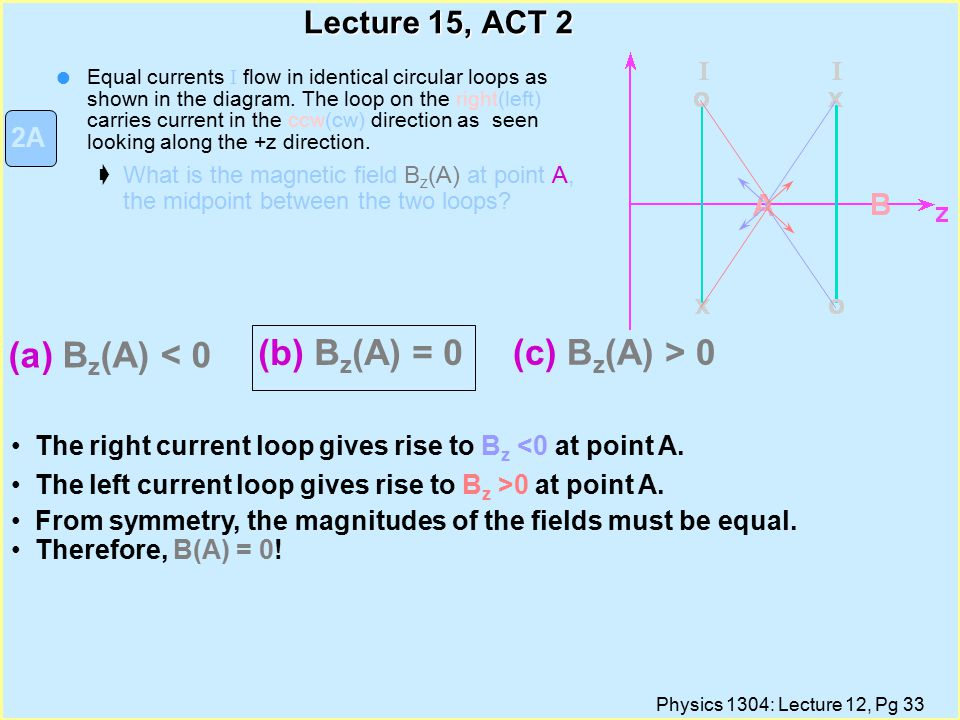 Physics 1304: Lecture 12, Pg 33 Lecture 15, ACT 2 Equal currents I flow in identical circular loops as shown in the diagram.