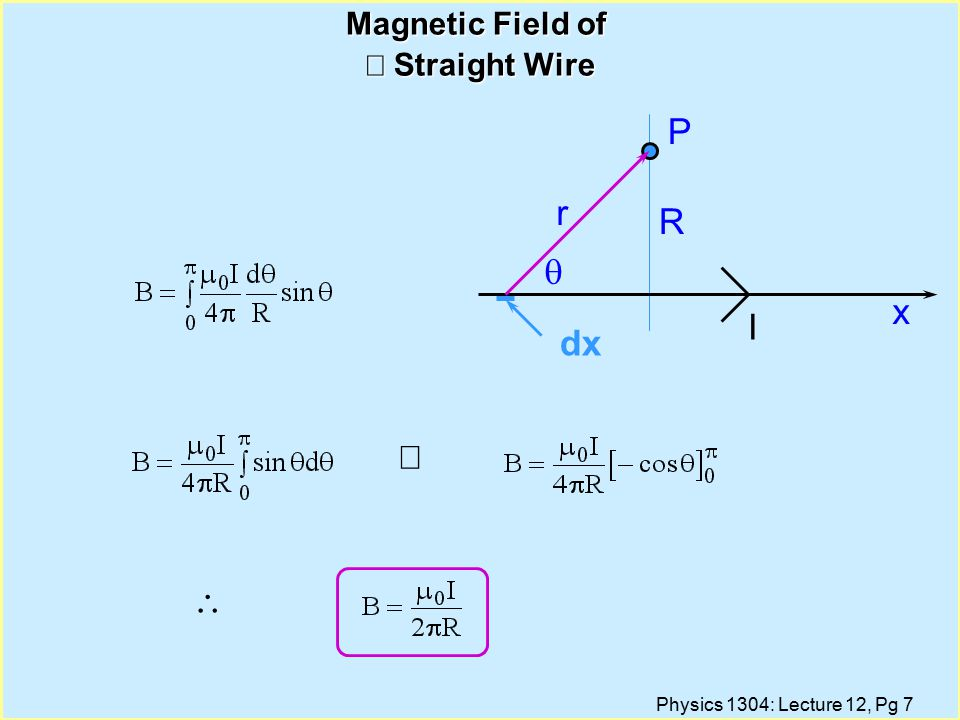 Physics 1304: Lecture 12, Pg 7 Magnetic Field of  Straight Wire   x R r  P I dx