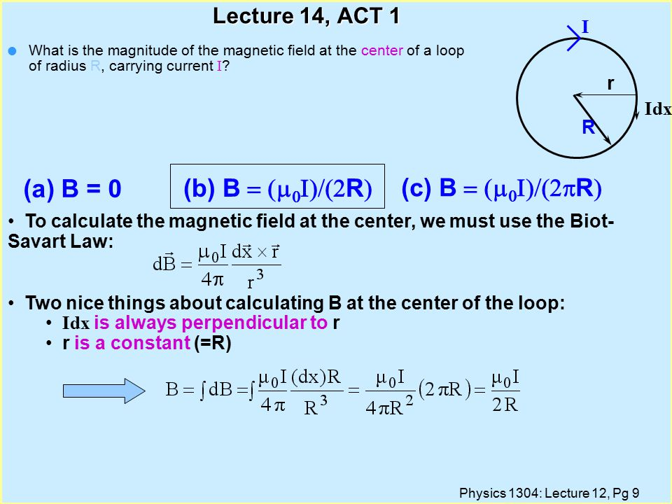 Physics 1304: Lecture 12, Pg 10 Magnetic Field of  Straight Wire Calculate field at distance R from wire using Ampere s Law: Ampere s Law simplifies the calculation thanks to symmetry of the current.