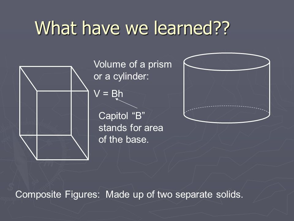 "What have we learned?? Volume of a prism or a cylinder: V = Bh Capitol ""B"" stands for area of the base. Composite Figures: Made up of two separate sol"