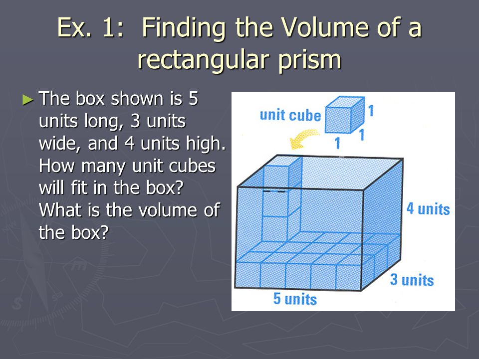 Ex.1: Find the Volume of the Prism 5in 3in 10in V = Bh = (3in 5in)(10in) = (15in 2 )(10in) = 150in 3 Area of Base B = lw