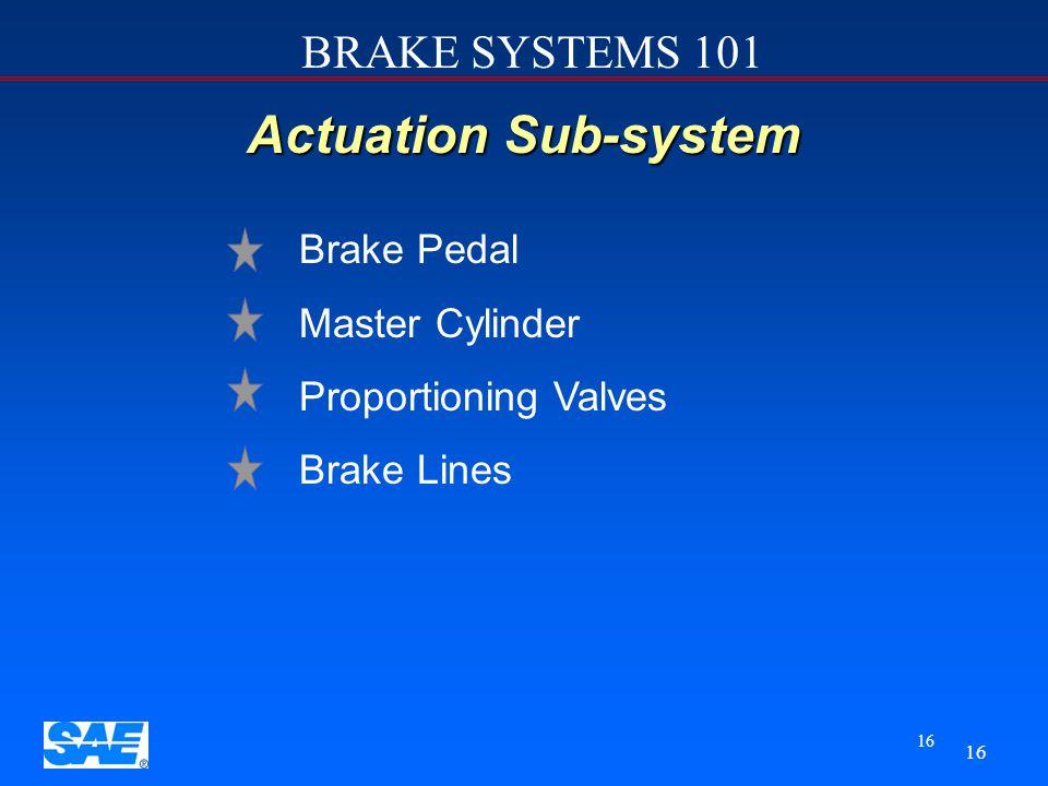 BRAKE SYSTEMS 101 15 Four Sub-systems u u Actuation sub-system u u Foundation sub-system u u Parking brake sub-system u u ABS & ESP ( electronic stabi