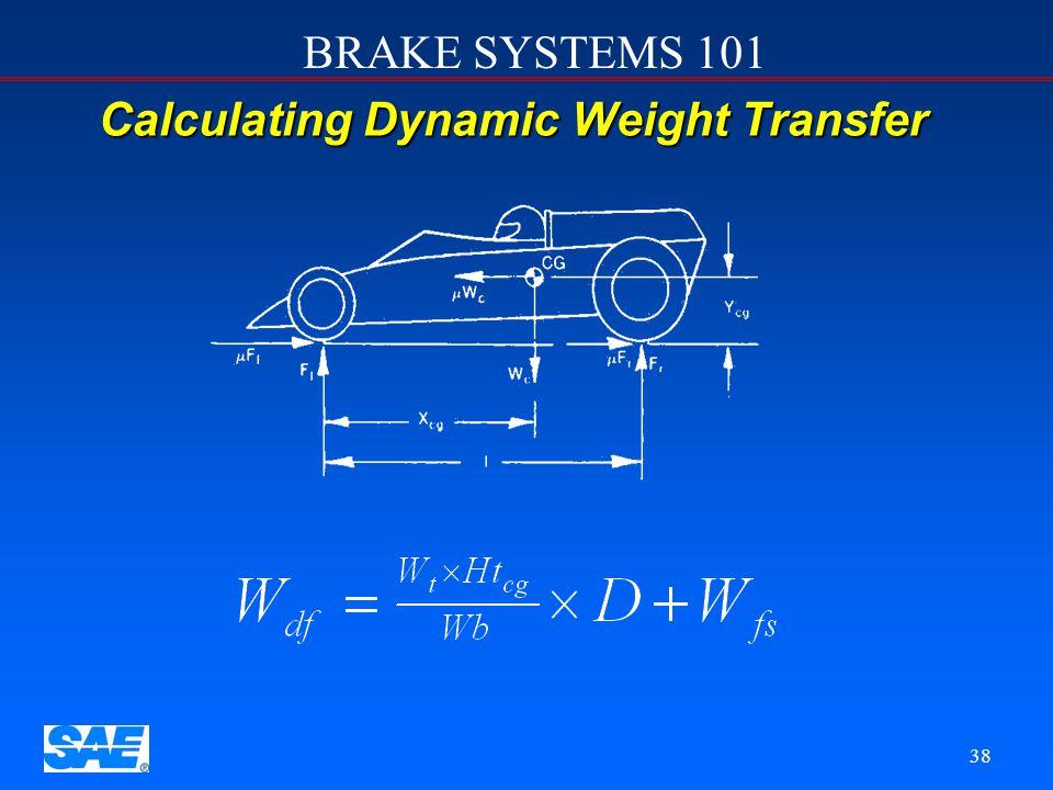 BRAKE SYSTEMS 101 37 Optimum Braking Optimum braking is achieved when brake torque distribution matches dynamic weight distribution Weight Distributio