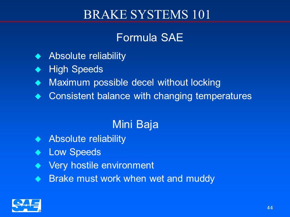 BRAKE SYSTEMS 101 43 Formula SAE vs. Mini Baja The brake system design must match the vehicle objectives
