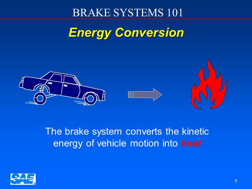 BRAKE SYSTEMS 101 15 Four Sub-systems u u Actuation sub-system u u Foundation sub-system u u Parking brake sub-system u u ABS & ESP ( electronic stability program) sub-system