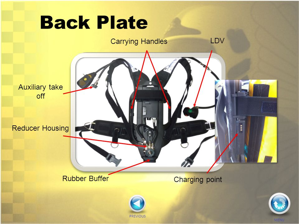 Back Plate Rubber Buffer Reducer Housing Carrying Handles LDV Auxiliary take off PREVIOUS MENU Charging point