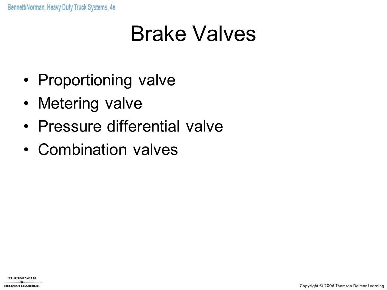 Brake Valves Proportioning valve Metering valve Pressure differential valve Combination valves