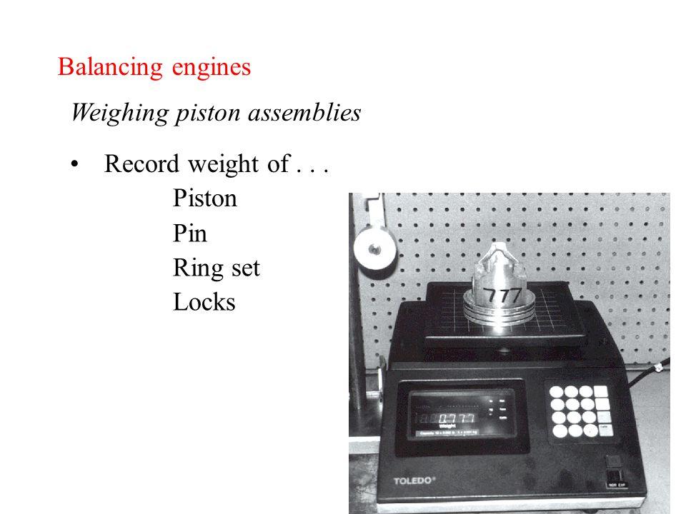 Balancing engines Weighing piston assemblies Record weight of... Piston Pin Ring set Locks