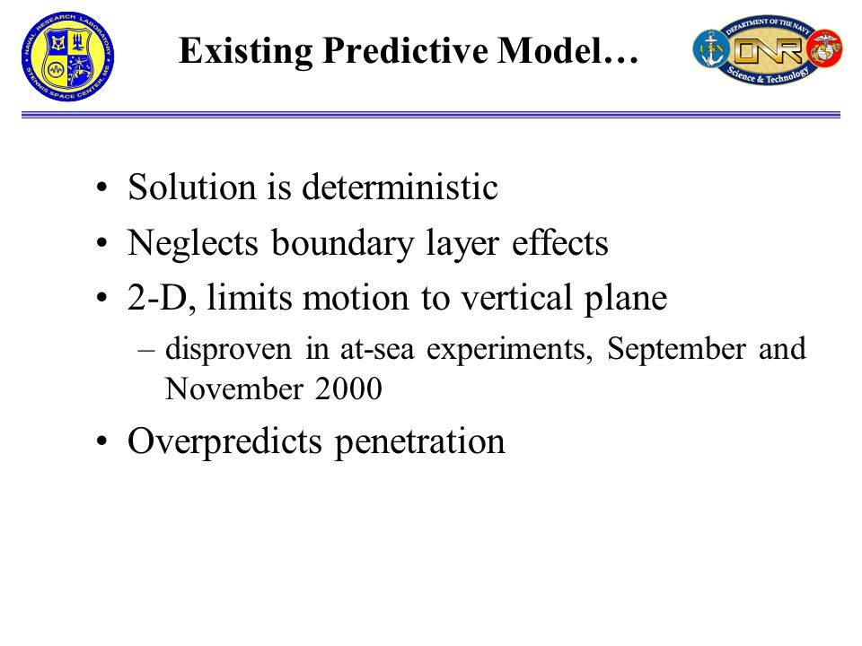 Existing Predictive Model… Solution is deterministic Neglects boundary layer effects 2-D, limits motion to vertical plane –disproven in at-sea experiments, September and November 2000 Overpredicts penetration