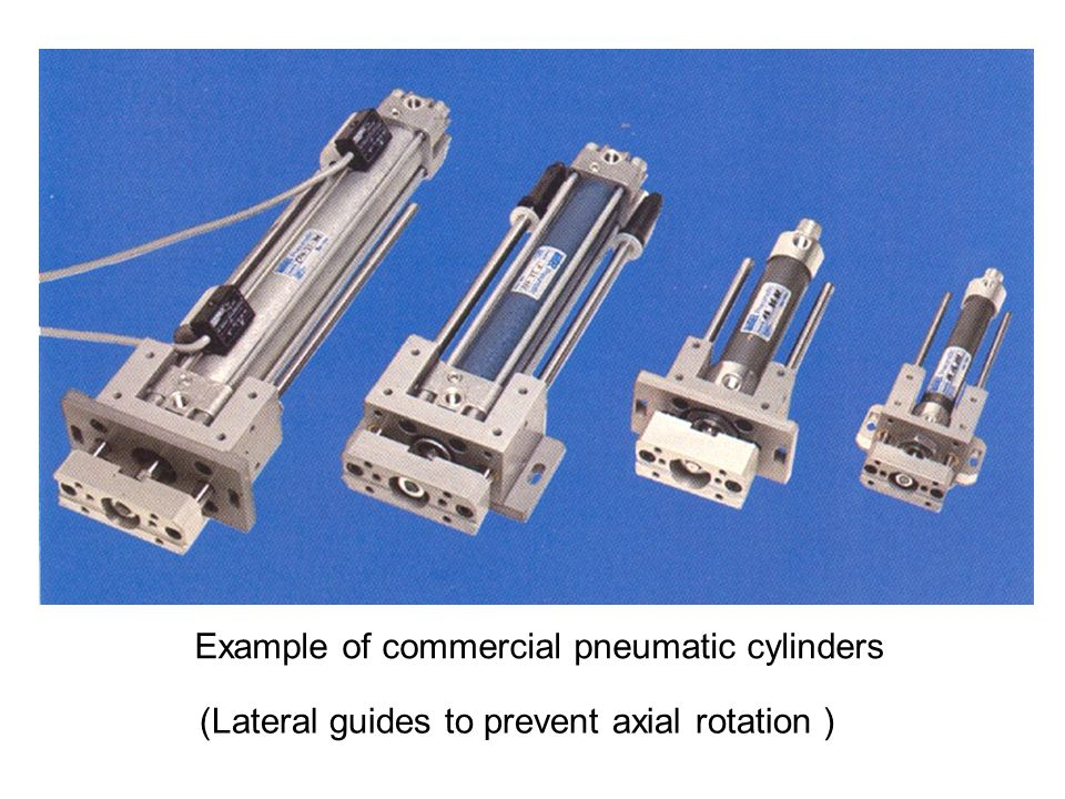 (Lateral guides to prevent axial rotation ) Example of commercial pneumatic cylinders