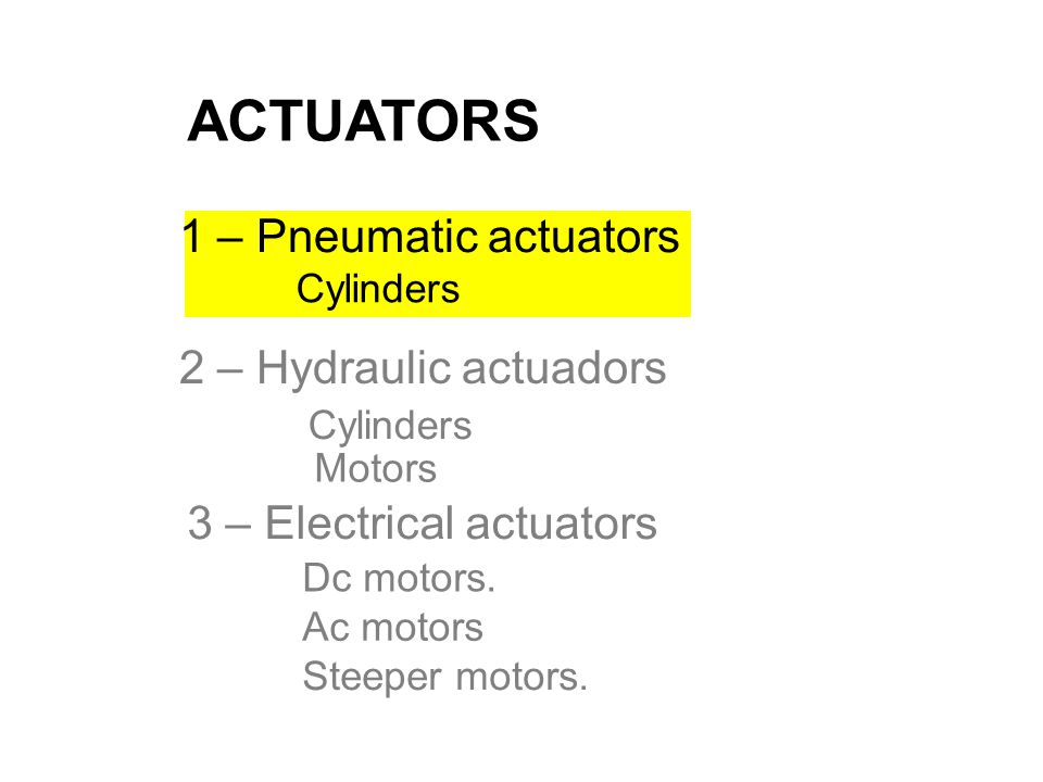 ACTUATORS 1 – Pneumatic actuators 3 – Electrical actuators Cylinders Dc motors. Ac motors Steeper motors. Motors Cylinders 2 – Hydraulic actuadors