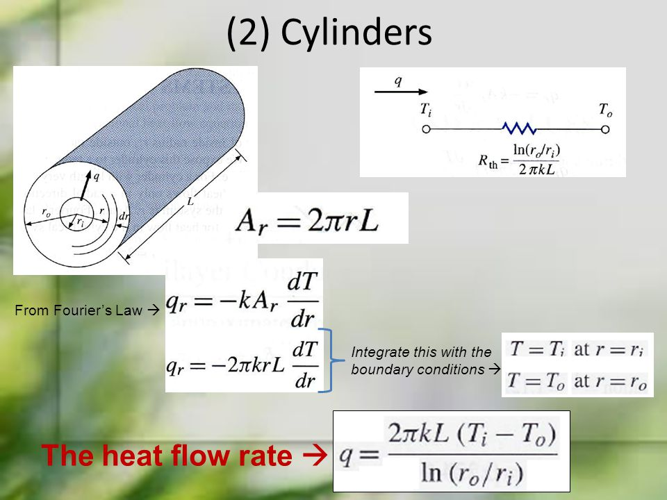 (2) Cylinders From Fourier's Law  Integrate this with the boundary conditions  The heat flow rate 