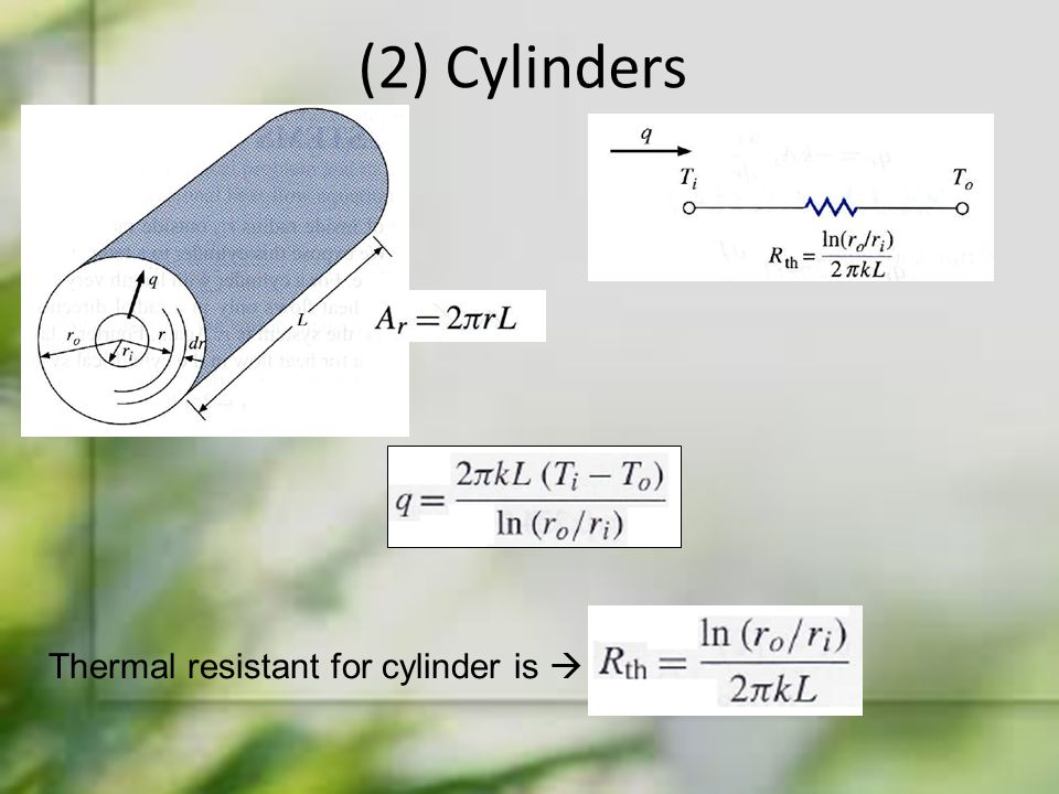 (2) Cylinders Thermal resistant for cylinder is 
